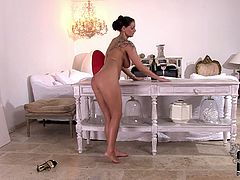 Here's two horny and busty brunettes ready to go lesbo. See Sheila Grant from Hungary and LaTaya Roxx from the Czech Republic licking their feet while flaunting their hot asses and sexy tits.