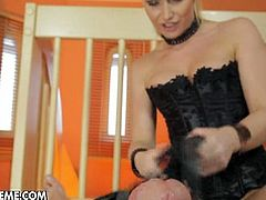 Kathia Nobili is a sexy blonde mistress and she is teasing a big cock in the pov style. She rubs it with her pussy and strokes it for a nice cumshot!