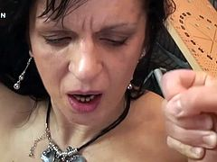 This kinky mature woman called Lisa Jane will take a cock inside her experienced pussy and mouth before getting cum on her face.