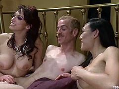 Sexy brunette girl gives a blowjob to the tranny. Later on the guy gets ass fucked with a strap-on and a dick.