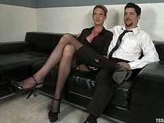 Bulky blonde tranny Morgan Bailey is getting naughty with a dude called S. Jack. She makes him suck her big cock and then rips his amazing butt apart.