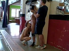 Leyla Black and White Angel are naked and have lesbian sex in front of the camera at the gym. Blonde and brunette lick each others snatches in front of cameraman in backstage video.