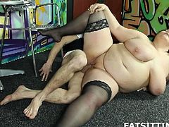 BBW femdom sex with face-sitting action! Viktoria is horny as fuck and lets this young dude to pound her in the fat cunt she has!
