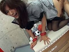 This Horny Japanese Teacher Was Asking For It Being Dressed Like That So She Gets Fucked Rough By Two Students.