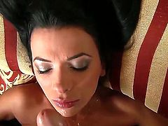 Horny brunette Shalina Devine enjoys huge cock stimusexy her tight mouth in wild POV