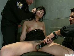Stunning Tori Lux gets tied up and toyed. After that she sucks big hard cocks and gets fucked in both holes.