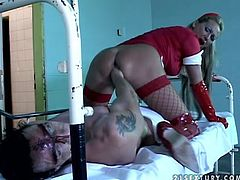 Lewd fair-haired girl Mandy Bright wearing a kinky costume is having fun with some horny guys. She rides his dick crazily and then lets him toy her hairy snatch.