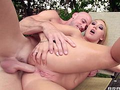 Hot mom Applegate has a big sexy booty that she loves to get it filled with cock. Her pussy and asshole are perfectly shaved and she offers them to Johnny for a fuck. He grabs out his massive dick and stick's it in the Applegate's tight anus after taunting her in the water. Yeah the bitch is getting her hole stretched