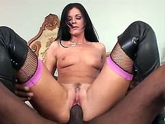 Pretty hot and slender slut India Summer is standing doggy and giving to her black boyfriend Sean Michaels hot blowjob and then gets fingered and fucked up by him!