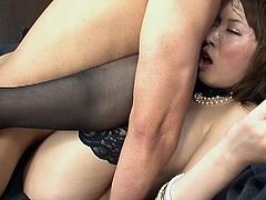 See the horny Asian brunette milf Sayaka Tsuzi letting her man take her clothes off and play with her hairy pussy before her munches and fingers that cookie. Then it's time for her cunt to be banged balls deep into a breathtaking orgasm while wearing black stockings.