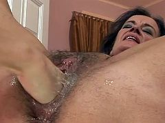 Hard fiSting action for the sexy grAnny whore. she Masturbating and then tAking hand of younger angel in her hairy wet pink