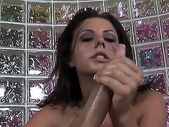 Naughty gal Penny Flame uses her magic hands bringing dude at cloud seven from pleasure. He moans and coils from delight before giving her huge cumshots on face.