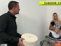 Blonde maid bara brass gets pounded hard