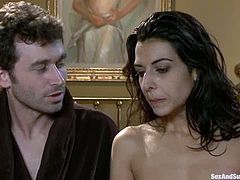 James Deen and Lou Charmelle are having some good time together. James ties the chick up and torments her before smashing her coochie with his hard dick.