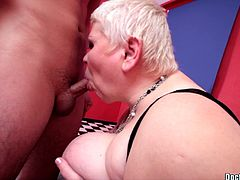 Have a look at this hardcore scene where a BBW mature is fucked by a horny guy after she sucks on his hard cock.