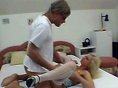 Huge dong crammed Blonde Nurse