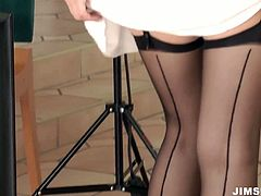 This too voracious wanker with not bad tits is alone at home. Kinky nympho pulls up her dress, stretches legs in stockings wide and stimulates her clit passionately for orgasm. Just check this hottie in Jim Slip sex clip and gain delight at once.
