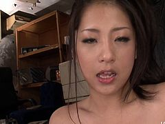 Magnificent Asian mistress with curvy body oils up her curves before polishing two fat hairy cocks with her mouth. Guys cum all over her body and she fingers her bearded clam.