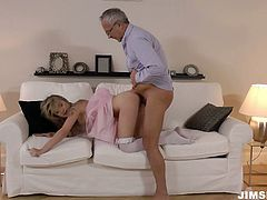 Sensual babe Angel Piaf is playing kinky sex games with geezer