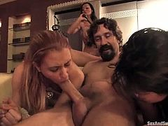 Sandra Romain, Steve Holmes and two cute chicks are having fun together. Steve pours water on the girls' bodies and then makes them suck and ride his hard dick.