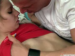 Cuddly brunette teen Lolinda gets her perky small tits oral stroked