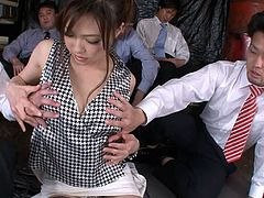 Jaw dropping Japanes fairy in arousing lingerie and fishnet stockings takes part in a wild gangbang sex orgy where a bunch of aroused daddies pet her tasty body from different sides and rub their cocks over a pair of her small perky tits.