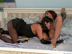 These lascivious lesbian hotties are going wild and dirty in the bedroom. They are playing kinky lesbian games together. Amazing threesome sex video by Tainster.