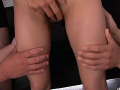 This slim and emotionless brunette from Japan is fond of fingering. Horn-mad chick with too small tits desires to gain her portion of pleasure. So she stretches legs wide, opens her hairy cunt and gets it tickled right away.