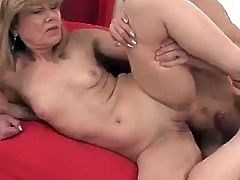 Watch this hardcore scene where a slutty mature blonde has her shaved pussy creamed by a big cock after being pounded nonstop.