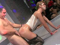 Two dirty bitches are dancing under the shower in a club. Then the scene changes showing nasty bitch wearing white corset getting banged mercilessly.