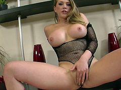Stunning blonde beauty enjoys true solo while bouncing her big natural tits