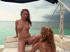 Two spoiled lesbians make out on the yacht. They polish each other's tasty vaginas and later tongue fuck and finger drill them in steamy lesbian sex video by Club Seventeen.