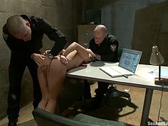 Stunning brunette chick gets tied up in a prison. Later on she gets her ass fisted and toyed. Later on she gets fucked rough in her mouth and ass.