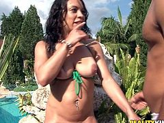 Curly zealous brunette takes a chance to be fucked from behind near the pool