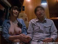 Hot Japanese girl with big boobs takes her clothes off and sucks a cock. Later on she gives skillful titjob and gets her tits covered with cum.