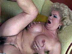 Effie is another dirty granny that loves hardcore sex so much. Blond-haired older woman parts her legs and gets her bushy pussy banged by skinny young guy. He fucks the shit out of granny.