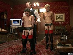 Two Slutty Slaves Show Discipline to their Master