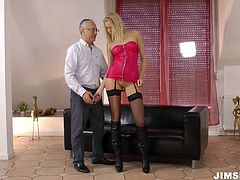Pretty babe Teena Dolly is penetrated from behind having passionate sex with horny geezer