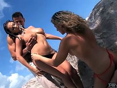 Two sexy beach girls in hot bikinis are making this dude remember that day. Babes gives him a hot double blowjob and then ride him one by one.