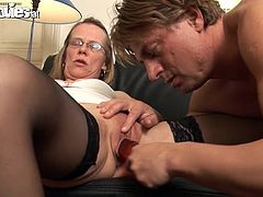 An experienced nurse is going to give this guy a great oral treatment and then satisfy him with her mature pussy.