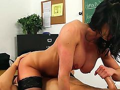 Johnny Castle and this gorgeous spectacled teacher Kendra Lust are fucking like never before. The hottie stays in stockings and high heels before getting licked, sucking  fucking.