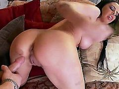 Hardcore action as the very sexy babe, Brandy Aniston, gets fucked in different positions. She looks awesome as she is bent over, her big tits bouncing up and down as she rides this big cock up and down wearing only her cowboy boots.