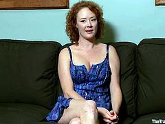 Kinky redhead girl takes her clothes off and gets tied up. After that she gets her pussy toyed with a vibrator. The guy also pinches her nipples.