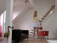 Steamy blonde babe has got adorable angelic look. She is wearing white dress and stockings. Teena Dolly flashes her tits and pussy caressing herself. Exciting sex video by Jim Slip.