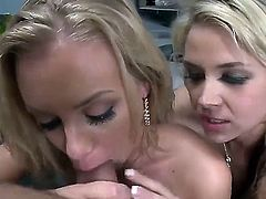 attractive naked slutty blondes Nicole Aniston and Sarah Vandella with huge bouncing asses and big juicy hooters get on knees and give mind blowing blowjob to famous Voodoo in pov.