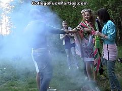 College drunks go out for a party in the woods and turn it into an orgy of sex with lots of sucking and pussy pounding going on in a hot sex party.