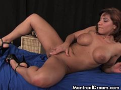 Hot brunette babe fucking herself with huge dildo