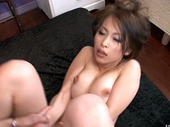 After sucking sturdy penis, luscious Japanese milf gets her soigne hairy pussy poked in missionary style before she switches to doggy pose in sizzling hot sex video by Jav HD.