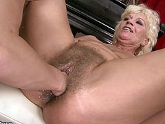 Sexy blond siren gets naked with her BF's granny and eats her pussy. Lady wanted to feel fresh again and she gives her the feeling.