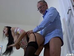 Brunette wench Candy Alexa is hammered bad in her twat doggy style